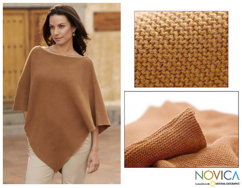 Handcrafted Tan Cotton Knit Poncho 'Cocoa Grace'