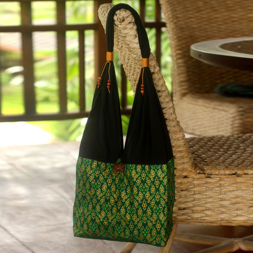 Hand Crafted Cotton Shoulder Bag  'Thai Emerald'