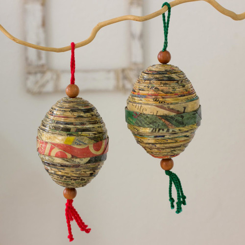 Recycled paper ornaments (Set of 4) 'Festive Cheers'