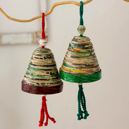Recycled Paper Christmas Ornaments (Set of 4) 'Bells of Hope and Joy'