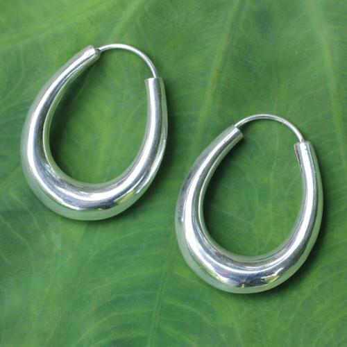 Modern Sterling Silver Hoop Earrings 'Modern Treasure'