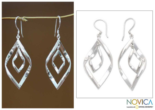 Modern Sterling Silver Dangle Earrings 'Infinite Dance'