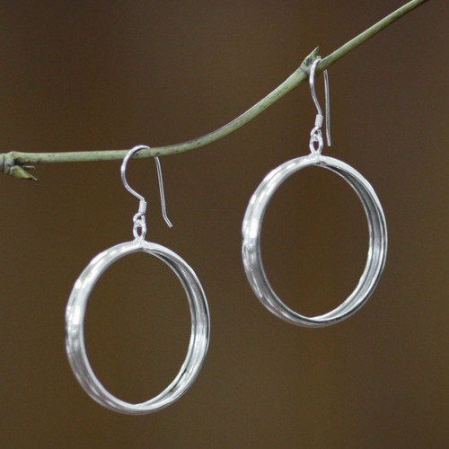Hand Crafted Sterling Silver Dangle Earrings 'Perfect Halo'