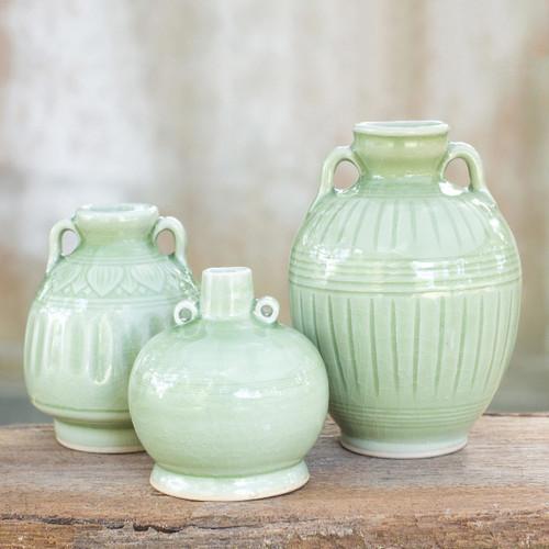 Celadon Ceramic Vases (Set of 3) 'Sawankhalok Meadows'