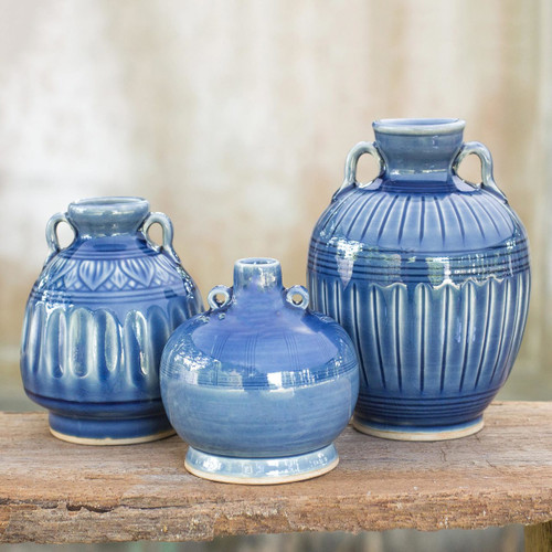 Celadon Ceramic Blue Vases (Set of 3) 'Sawankhalok Sky'