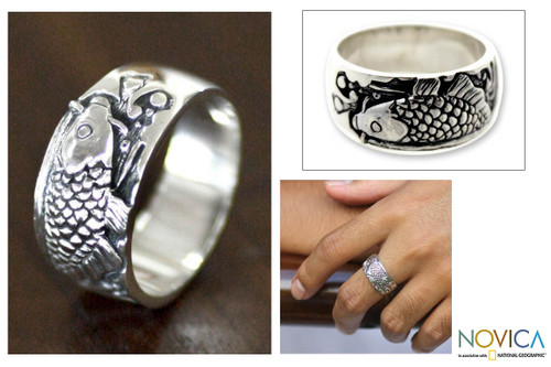 Men's Indonesian Sterling Silver Band Ring 'Dragon Fish'