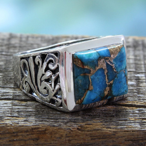 Hand Crafted Sterling Silver Composite Turquoise Ring 'Fascination'