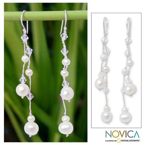 Bridal Pearl Waterfall Earrings from Thailand 'White Iridescence'