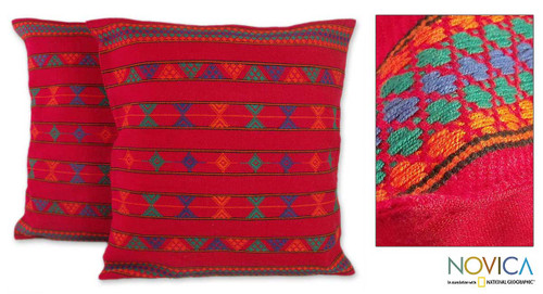 Cotton Embroidered Cushion Covers (Pair) 'Desert Ruby'