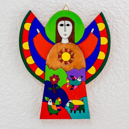 Multicolor Angel Wood Wall Art 'Angel of Hope'