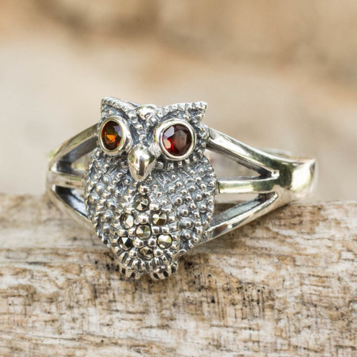 Thai Garnet and Marcasite Sterling Silver Cocktail Ring 'Little Owl'