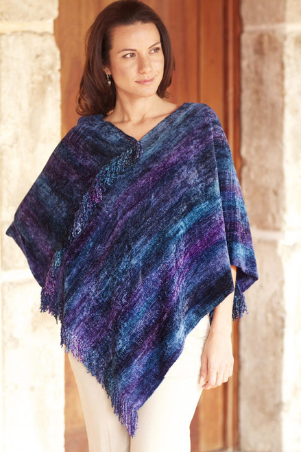 Hand Woven Cotton Blend Guatemalan Poncho 'Full Moon Night'
