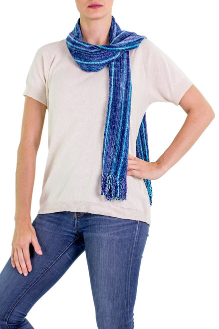 Rayon from Bamboo Chenille Scarf 'Sapphire Traditions'