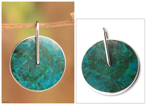 Handmade Modern Fine Silver Chrysocolla Pendant 'Magic Circle'