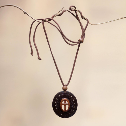 Handcrafted Coconut Shell Pendant Necklace 'Cross of Life'