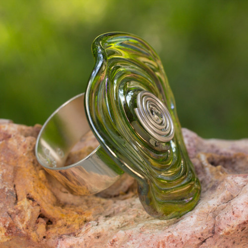Hand Crafted Modern Art Glass Cocktail Ring 'Circle of Life'