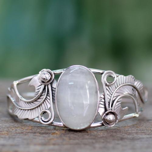 Rainbow Moonstone Cuff Bracelet in Sterling Silver Handmade 'Eternal Glow'
