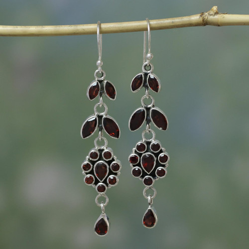 Handcrafted Floral Sterling Silver and Garnet Earrings 'Red Rose'