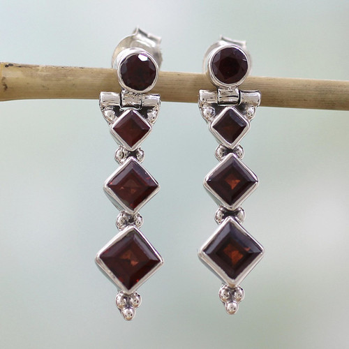 Hand Made Jewelry Sterling Silver and Garnet Earrings 'Ravishing Red'