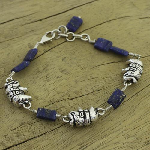 India Elephant Jewelry Lapis and Silver Bracelet 'Midnight Elephants'