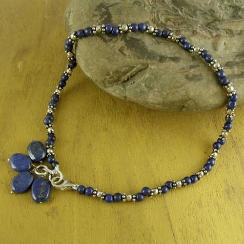 Lapis lazuli beaded anklet 'Knowledge'