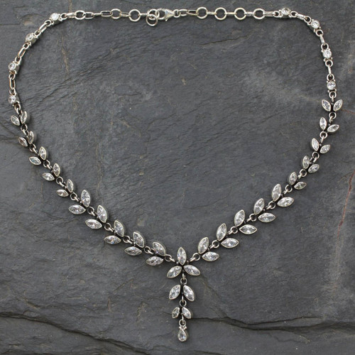 Quartz Y Necklace in Sterling Silver from India with 50 Cts 'White Daffodils'