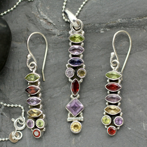 Sterling Silver Multigem Jewelry Set 'Totem Lights'
