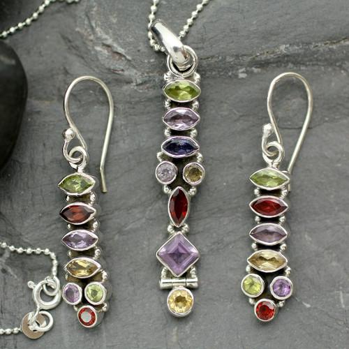 Sterling Silver Multigem Jewelry Set 'Totem Lights'