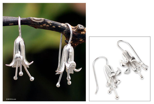 Collectible Floral Fine Silver Drop Earrings 'Lily'