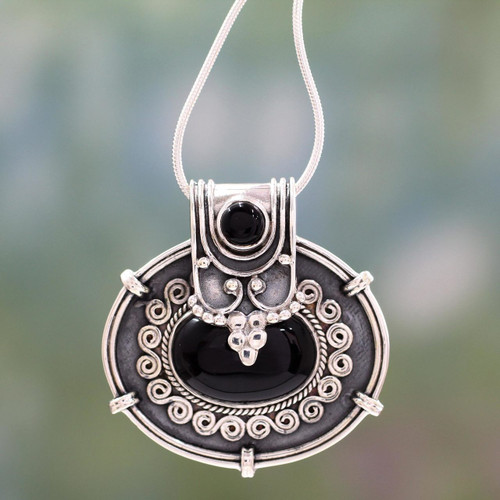 Onyx Pendant Necklace in Oxidized Sterling Silver from India 'Traditional Chic'
