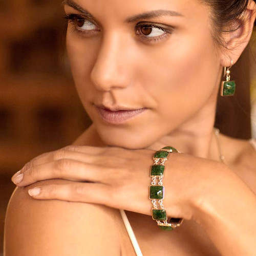 Handmade Central American Sterling Silver Jade Link Bracelet 'Love's Riches'