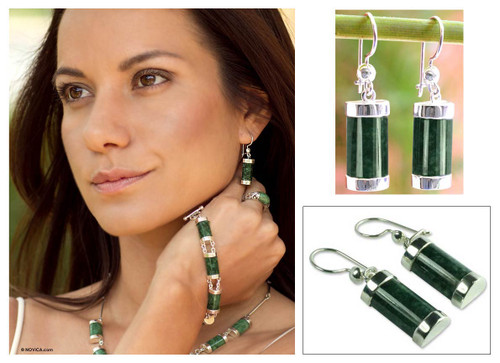Good Luck Sterling Silver Dangle Jade Earrings 'Sweet Maya'