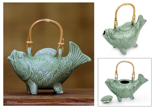 Ceramic Fish Teapot from Indonesia 'Lucky Koi'