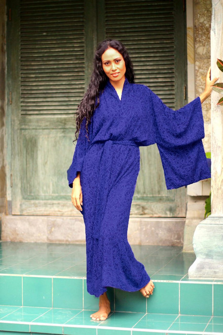 Blue Violet Women's Batik Robe from Indonesia 'Kimono of Blue-Violet Orchids'