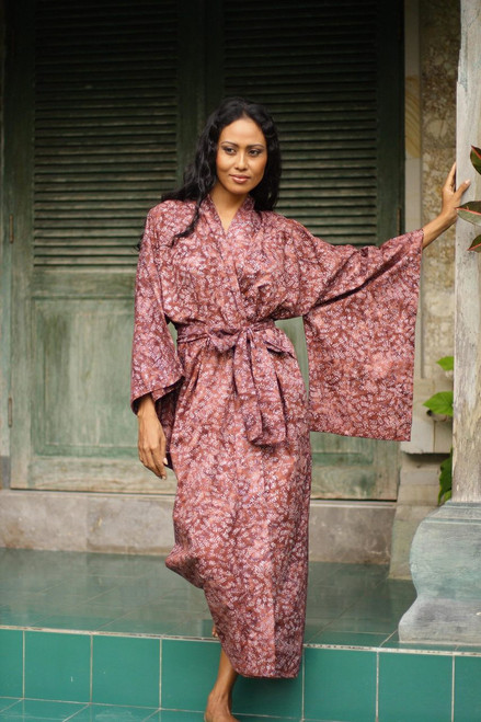 Handmade 100% Cotton Robe in Red Pink Tones from Indonesia 'Earth Dancer'