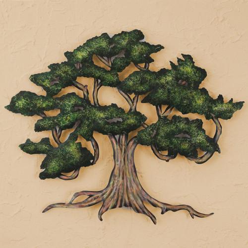 Unique Handmade Hand Painted Steel Wall Art (Medium) 'Ancient Shade Tree'