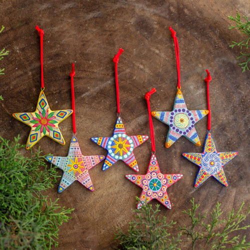 Artisan Crafted Ceramic Christmas Ornaments (Set of 6) 'Christmas Star'