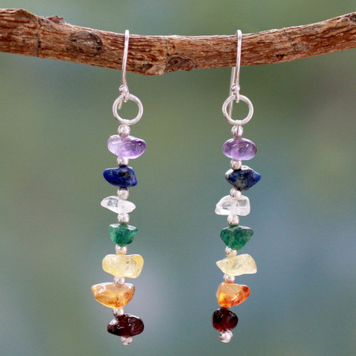 Gemstone Chakra Theme Dangle Earrings 'Rejoice'