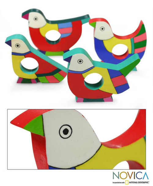 Wood Napkin Rings (Set of 4) 'Tropical Birds'