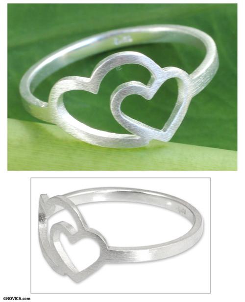 Thai Jewelry Sterling Silver Handmade Ring 'Love Unites'