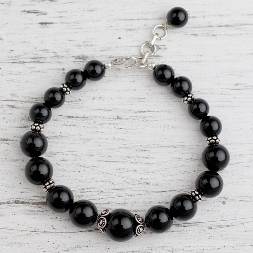 Onyx beaded bracelet 'Regal Night'