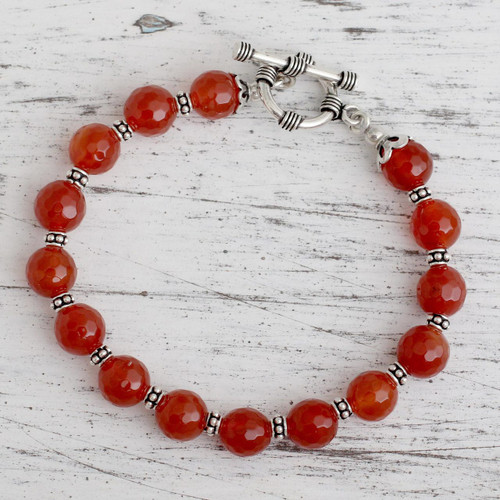 Carnelian beaded bracelet 'Royal Glow'
