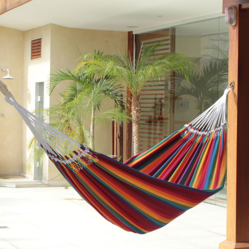 Cotton Striped Fabric Hammock (Double) 'Brazilian Rainbow'