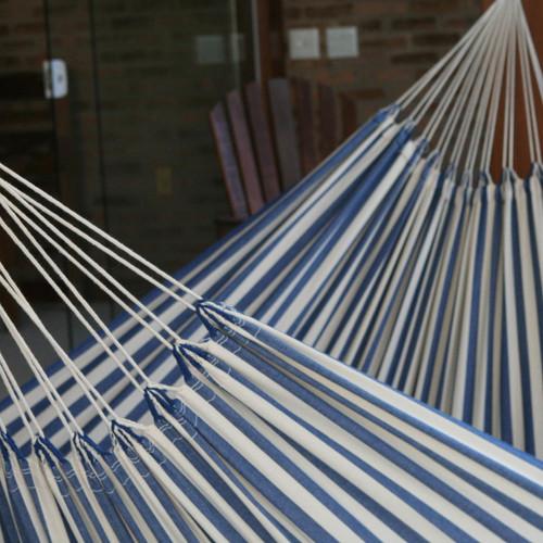 Hand Crafted Cotton Striped Fabric Hammock (Single) 'Maritime Brazil'