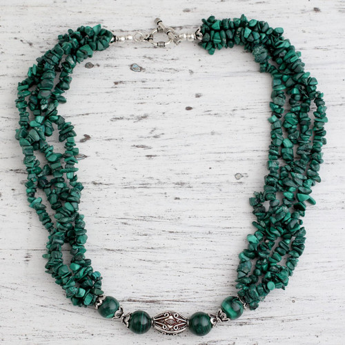 Malachite beaded necklace 'Natural Sophistication'