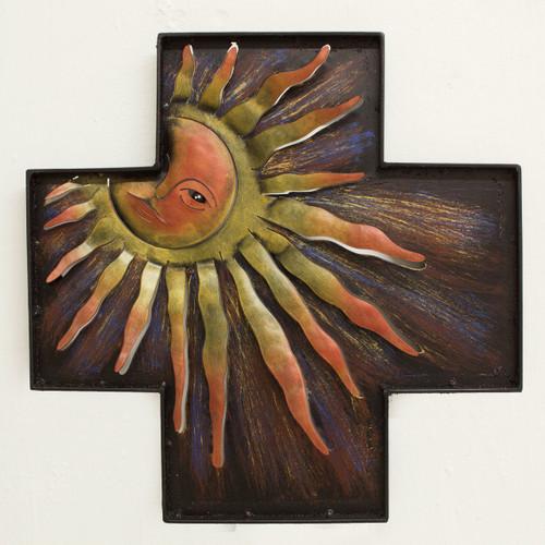 Fair Trade Religious Steel Wall Art Cross and Sun 'Divine Dawn'