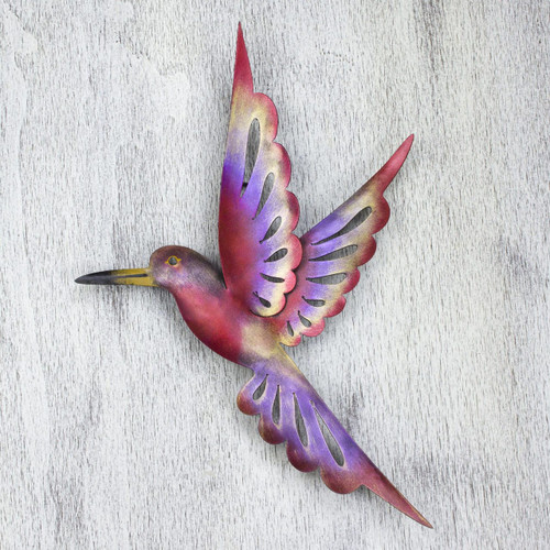 Steel Bird Wall Sculpture (15 Inches) 'Rosy Hummingbird'