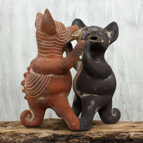 Mexico Pre Hispanic Museum Replica Figurine Crafted by Hand 'Dancing Colima Dogs'