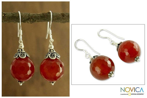 Carnelian dangle earrings 'Jaipur Sonnet'