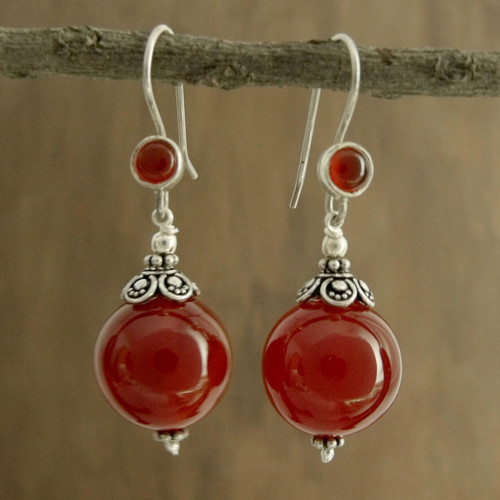 Carnelian dangle earrings 'Gujurati Ode'